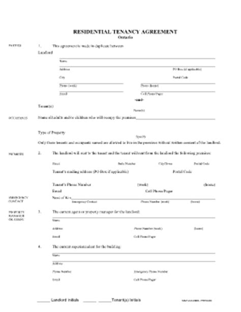 job application form residential tenancy agreement ontario