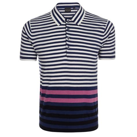 Poloshirt Stripe Navy paul smith navy and white contrast stripe polo shirt in blue for navy