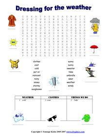 esl printable worksheets weather months clothes
