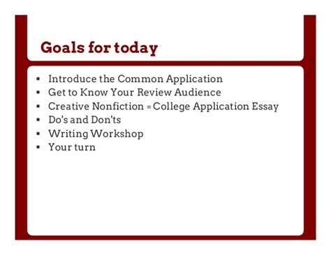 College Application Essay Workshops Part 1 And 2 The Common Application And The College Essay Question