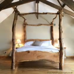 Beautiful Wood Bed Frames Rustic Oak Four Poster Tree Bed Beautiful Chunky Wooden