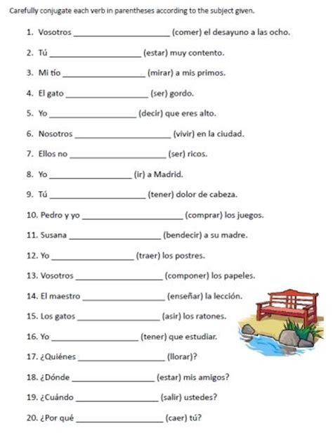 free printable handwriting worksheets in spanish free spanish verb conjugation sentences worksheets packet
