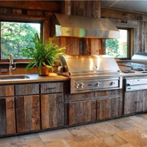 outdoors kitchen outdoor kitchen with barn wood outdoor kitchen and patio pinterest rustic wood wood