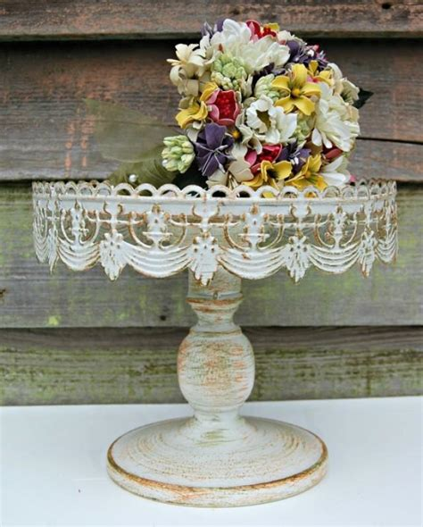shabby chic cake stand wedding cake shabby chic vintage style rustic pedestal