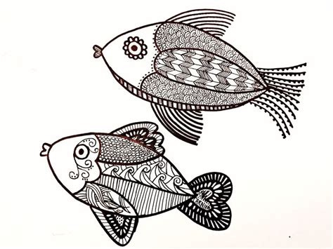 Pattern Drawing Fish | 17 best images about zentangle koi fish underwater and