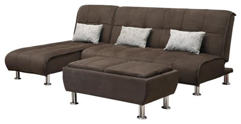 Futon Set Brown Microfiber 3 Sectional Sofa Futon Sleeper