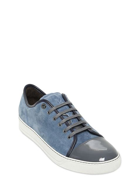 blue leather sneakers lyst lanvin patent leather suede sneakers in blue for