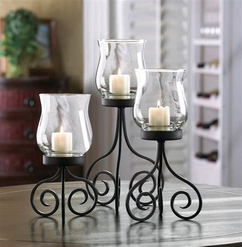 Set Of Three Hurricane Candle Holders Hurricane Lantern Trio Candle Holders 3 Candleholder