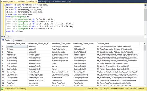 sql server list tables list primary key and foreign key relationship in database