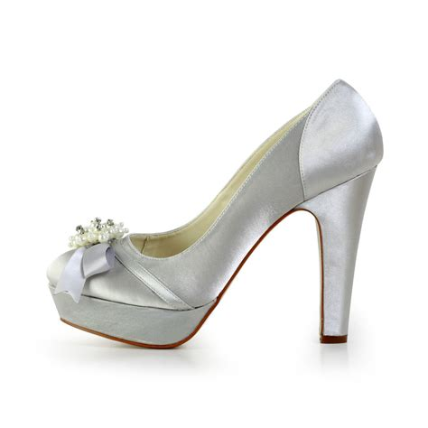 Wedding Pumps by S Satin Chunky Heel Closed Toe Platform Wedding