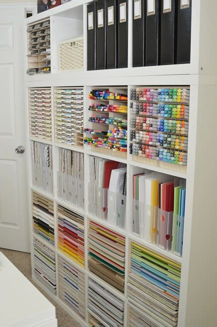 Craft Paper Storage Ideas - paper craft storage in ikea kallax shelving scrap booking