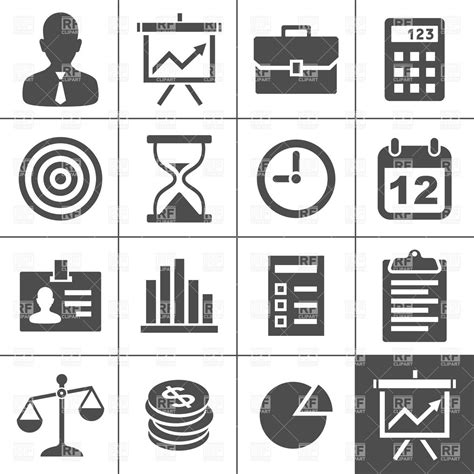 17 black and white business icons vector free images