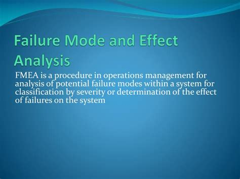 fmea potential failure mode and effects analysis ppt ppt failure mode and effect analysis powerpoint