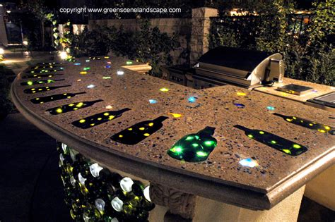 Lighted Bar Tops by California Garden Artist Creates Stunning Water Features