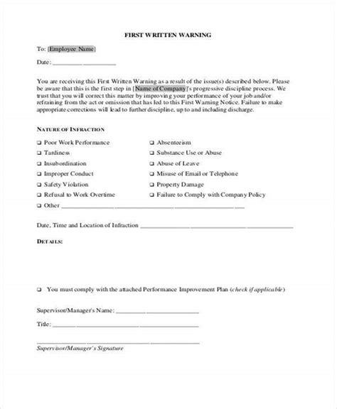 company warning letter template word format