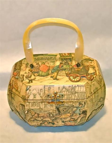 vintage anton pieck decoupage box purse nvision