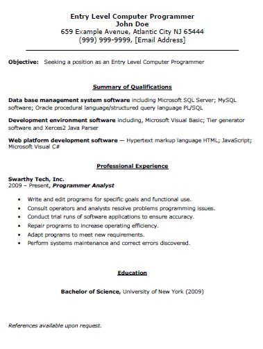 Computer Programmer Resume Template Entry Level Computer Programmer Resume The Resume