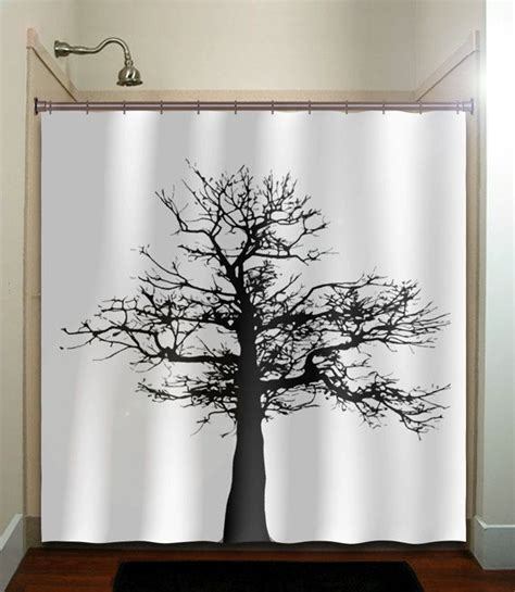 Gray And Black Shower Curtains Gray Black Tree Shower Curtain Bathroom Decor Fabric Bath White