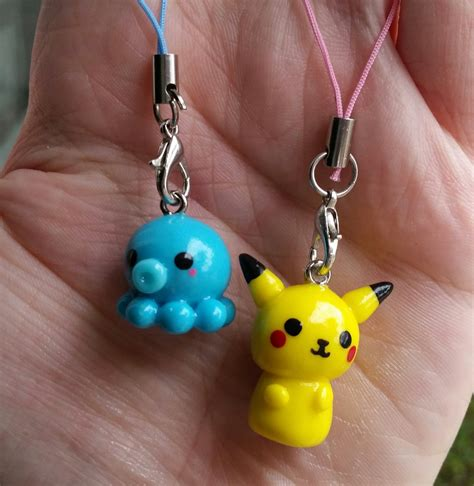 pikachu and octopus polymer clay charms by galaxygroove on
