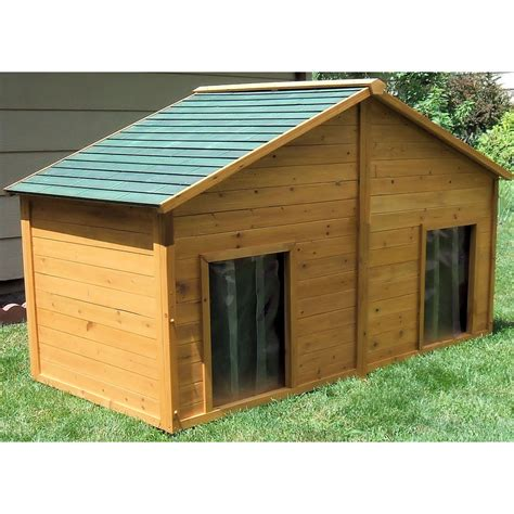 insulated dog houses shop x large cedar insulated duplex dog house at lowes com