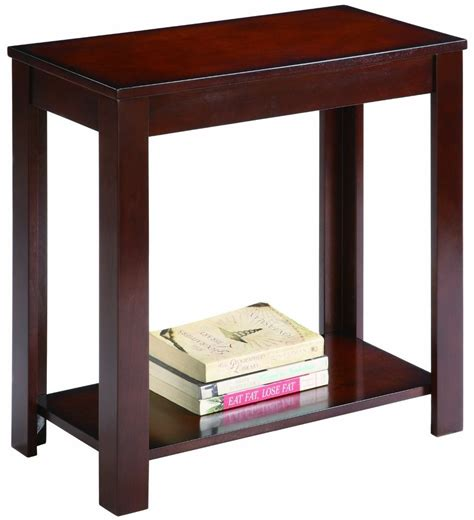 wood end table coffee sofa side accent shelf living room