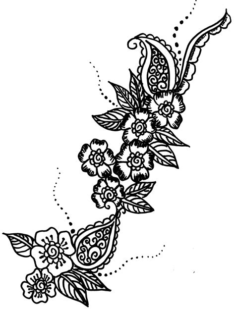 henna tattoo color henna flowers coloring pages