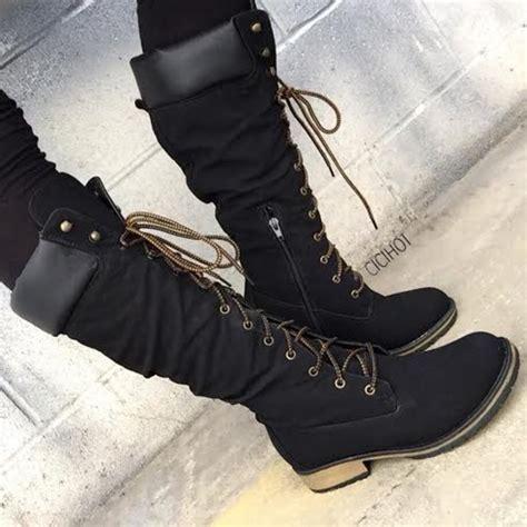 black faux leather calf length mountain boots cicihot