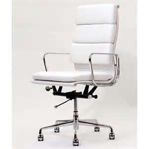 high back white leather executive office chair by