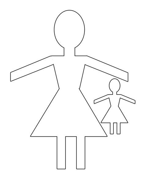 doll cut out template best photos of printable paper doll chain template paper