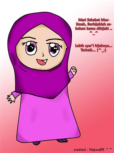 anime hijab gaul catatan kecil karakter kartun hijabku
