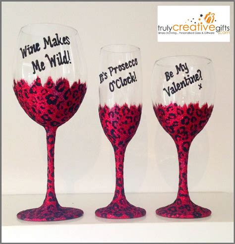 personalised s day leopard print wine glass