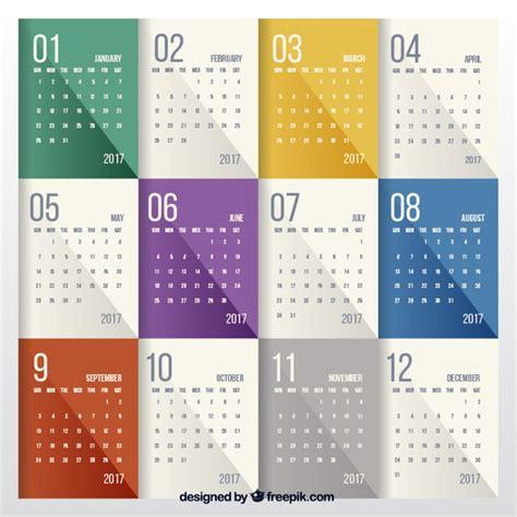 Calendario Moderno Moderno Calendario De 2017 De Colores Descargar Vectores