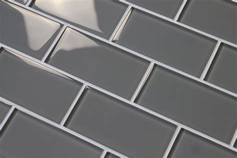 Kitchen Metal Backsplash by Pebble Gray 3x6 Glass Subway Tiles Rocky Point Tile