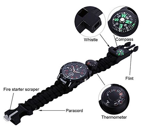 Peluit Kompas Thermometer 3 In1 Black 1 emergency survival with paracord compass whistle starter analog watches