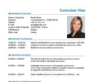 Modelo Curriculum Vitae Italiano Da Compilare Curriculum Vitae Nuovo Modello Cv Da Scaricare Gratis