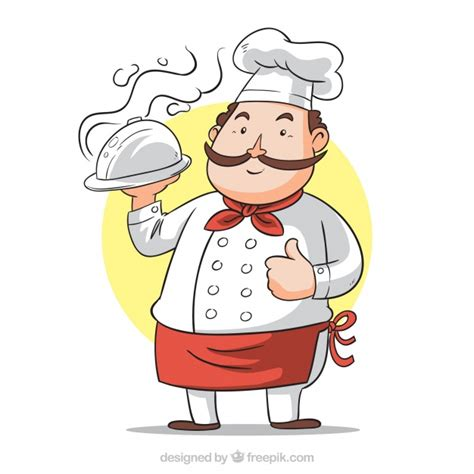 cook with background of cook with tray vector free