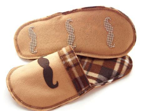 slippers for grandad shoes mens slippers fleece felt brown plaid mustache