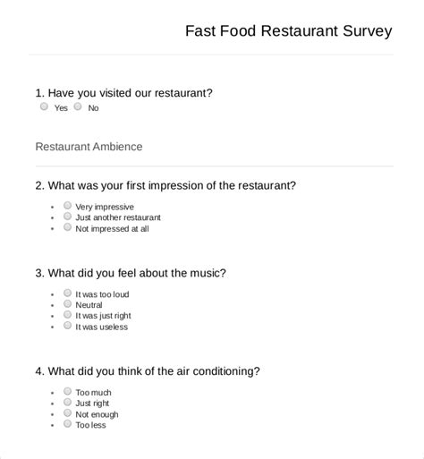 download fast food restaurant survey template free