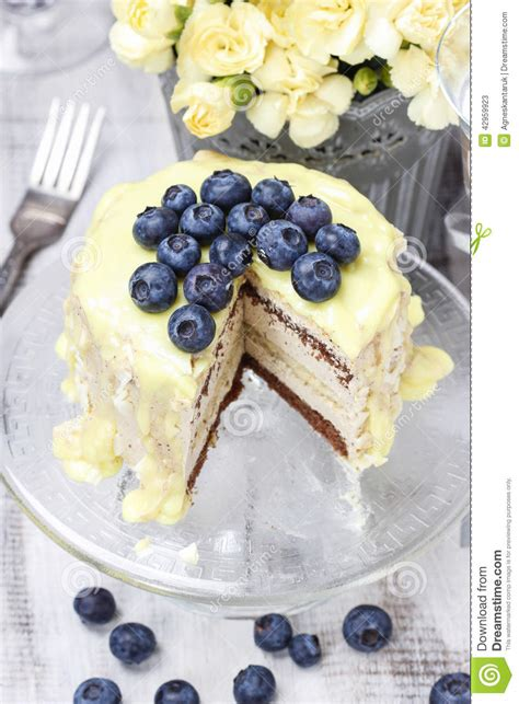 Blueberry Cake Decoration by White And Chocolate Layer Cake Decorated With