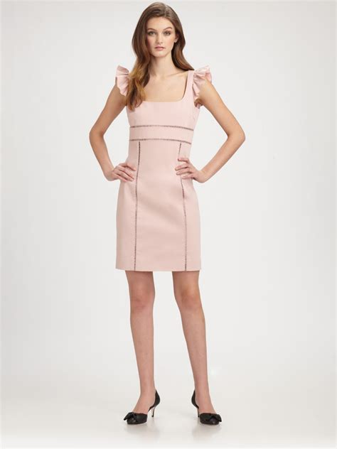 Dress Ruffle Dress lyst valentino ruffle sleeve dress in pink