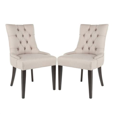 Nailhead Dining Chair Safavieh Peyton Nickle Nailhead Dining Chair In Beige Set Of 2 446906