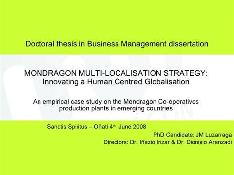 business strategy dissertation topics mondragon multilocalisation strategy jm luzarraga phd