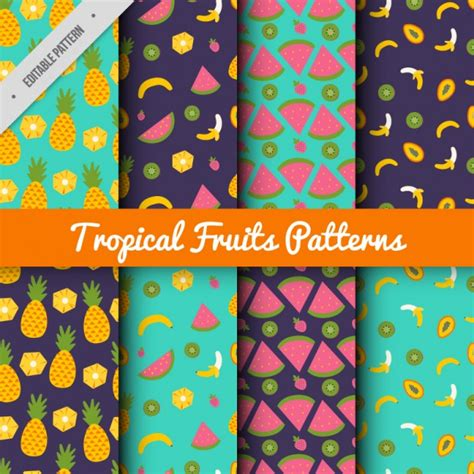 pattern collection download tropical fruit pattern collection vector premium download