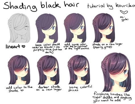 how to hair color shading black hair by kouriiko on deviantart
