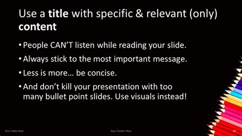 powerpoint layout title and content pencils free powerpoint template