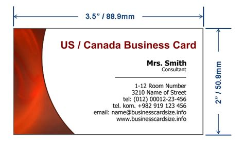usa business card size name card size in mm