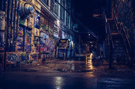 photography street alleyway city night graffiti