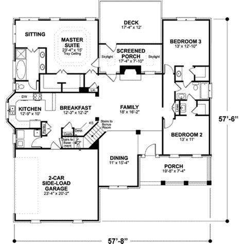 56 sq ft traditional style house plan 3 beds 2 baths 1963 sq ft