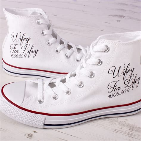 Wedding Shoes Converse by Customised For Lifey Hi Top Wedding Converse Shoes