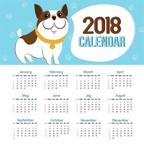 Calendario De Cachorro Calend 225 2018 Cachorro Baixar Vetores Premium
